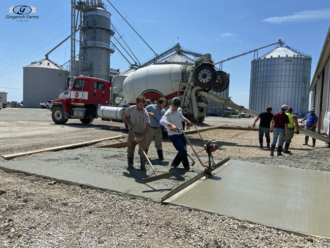 Smoothing concrete - Gingerich Farms