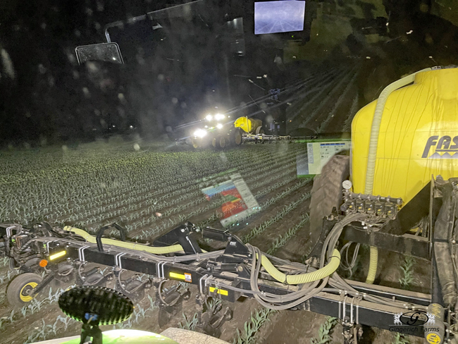 2 Sidedress bars at night - Gingerich Farms