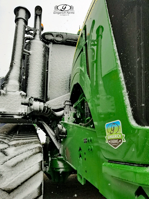 Snow on tractor at Gingerich Farms