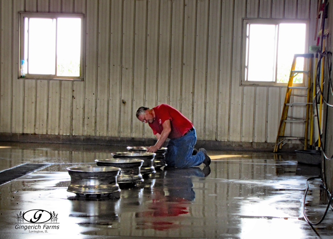 Cleaning rims at Gingerich Farms