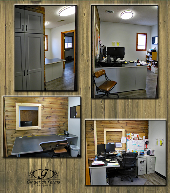 Before & after north office at Gingerich Farms