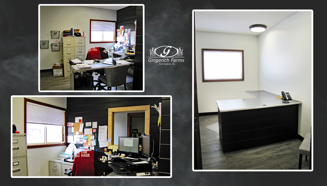 Before & after south office at Gingerich Farms