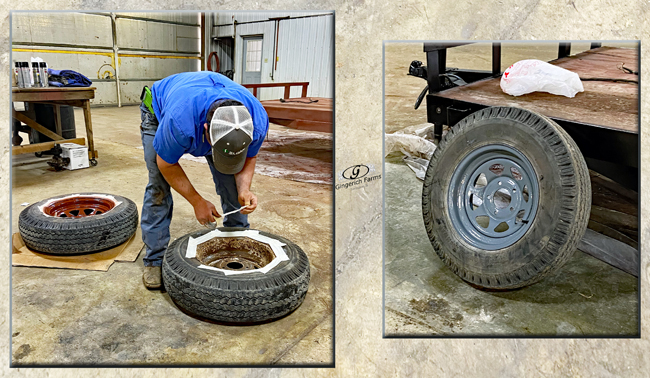 Painting tire - Gingerich Farms