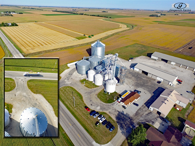 Truck coming to Grain center - Gingerich Farms