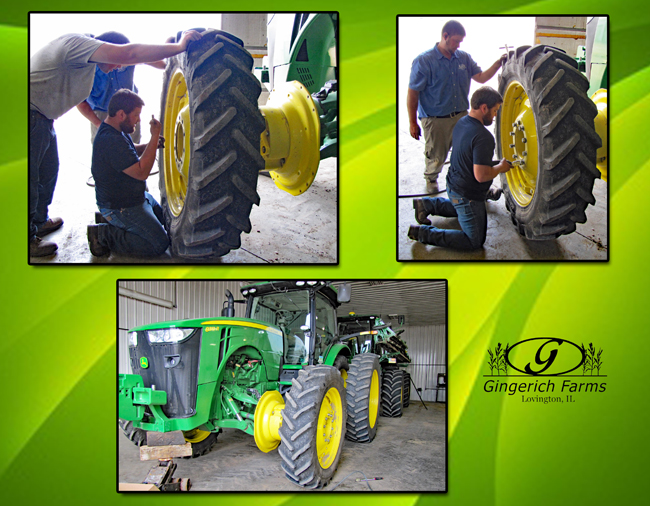 Removing tires at Gingerich Farms