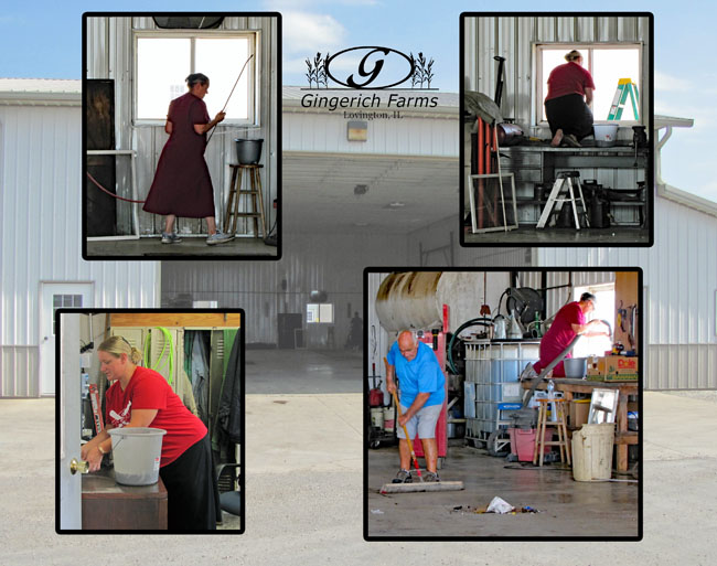 Cleaning the shop at Gingerich Farms