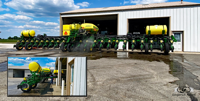Cleaning planter at Gingerich Farms