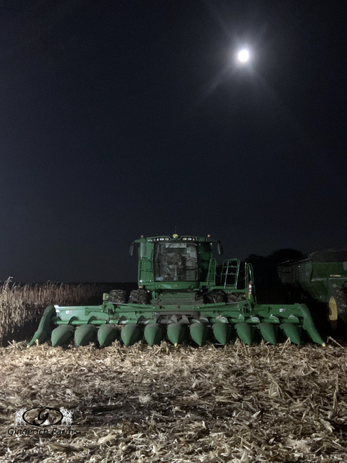 Combine with moon - Gingerich Farms
