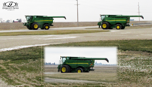 Combines going to storage at Gingerich Farms