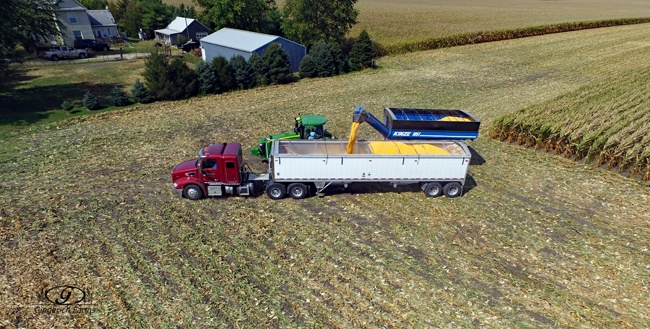 Loading truck with corn at Gingerich Farms