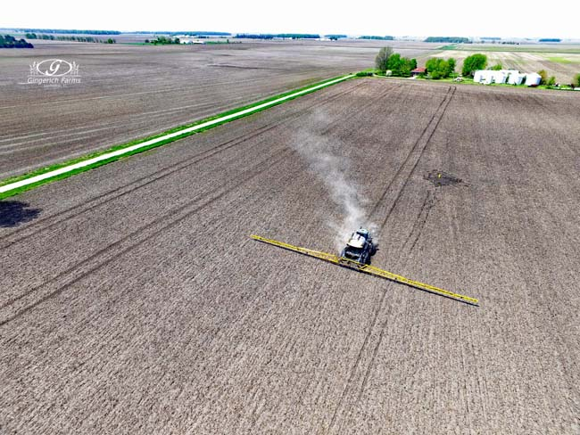 spraying at Gingerich Farms