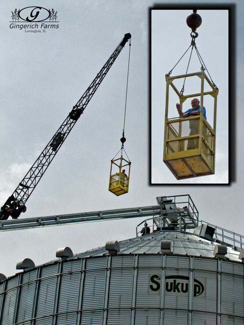 Ed going to top of new bin at Gingerich Farms