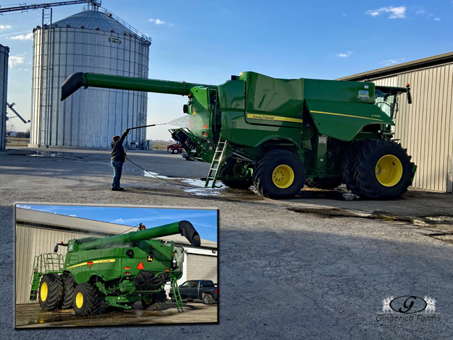 Ethan washing combine - Gingerich Farms