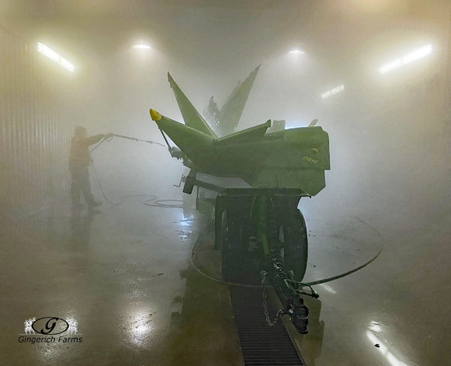 Washing corn head - Gingerich Farms