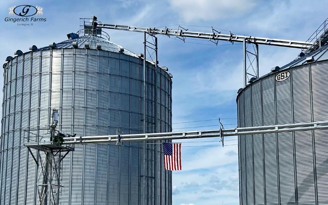 Flag at Grain Center - Gingerich Farms