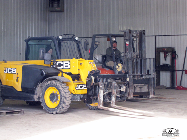Fork lift at Gingerich Farms