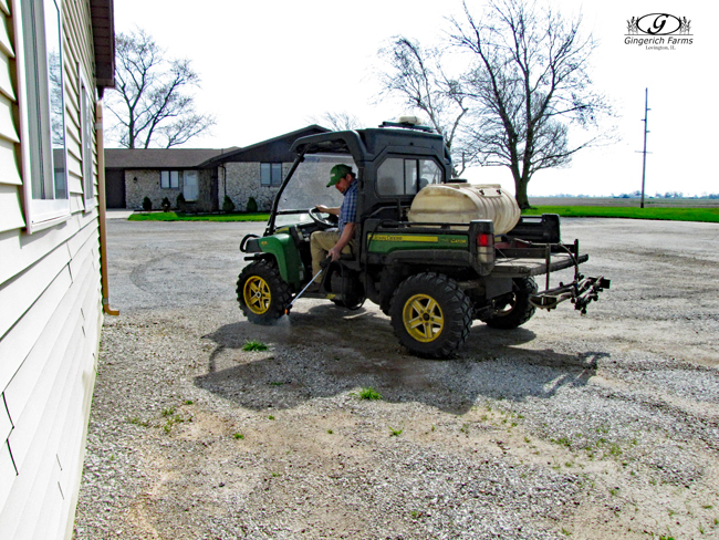 Spraying weeds at Gingerich Farms