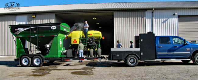 Loading planter at Gingerich Farms