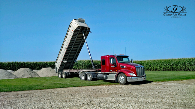 Hauling LIme at Gingerich Farms