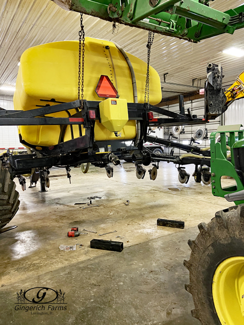 Sidedress ready for wheels at Gingerich Farms