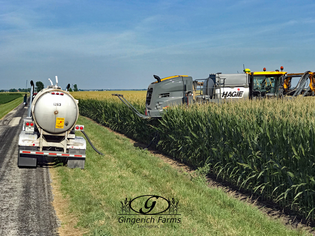 Loading sprayer at Gingerich Farms