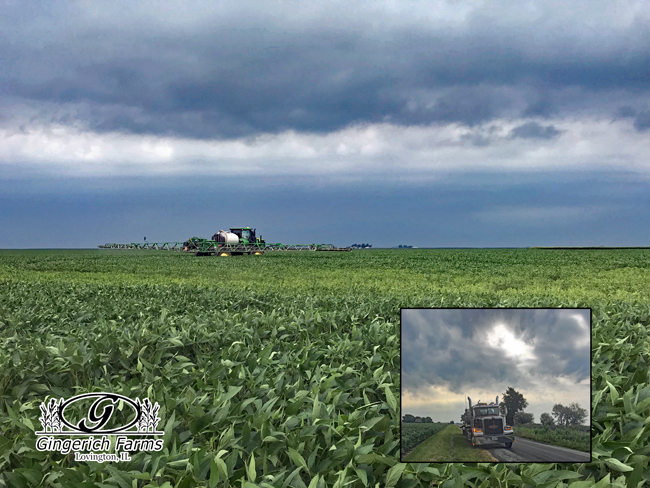 Spraying before the rain at Gingerich Farms