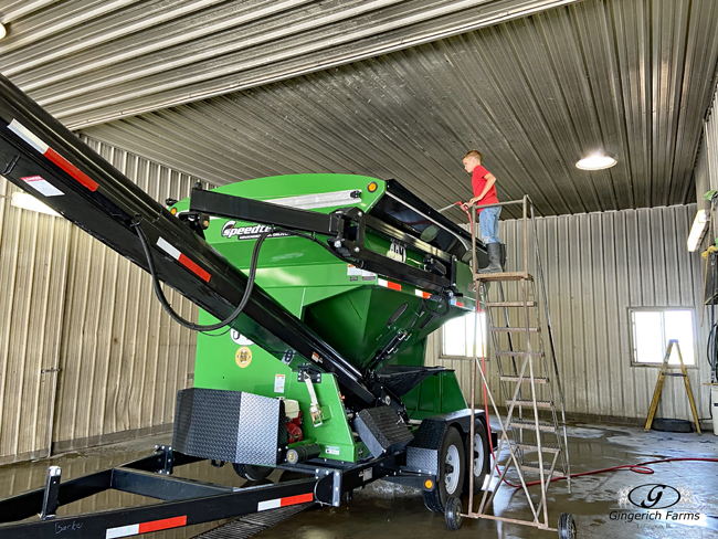 Seed tender at Gingerich Farms