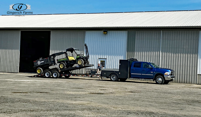 Moving equipment at Gingerich Farms
