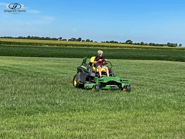 Tyler mowing - Gingerich Farms
