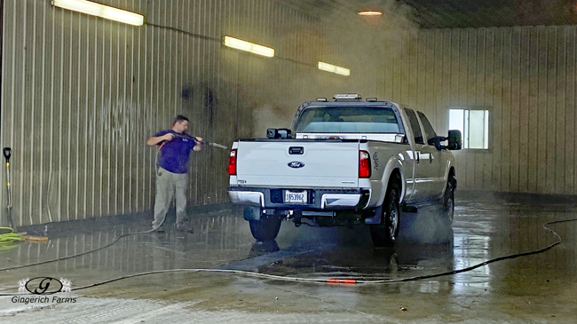 Cleaning truck - Gingerich Farms
