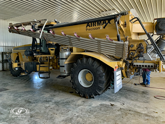 Fertilizer spreader with new tires at Gingerich Farms