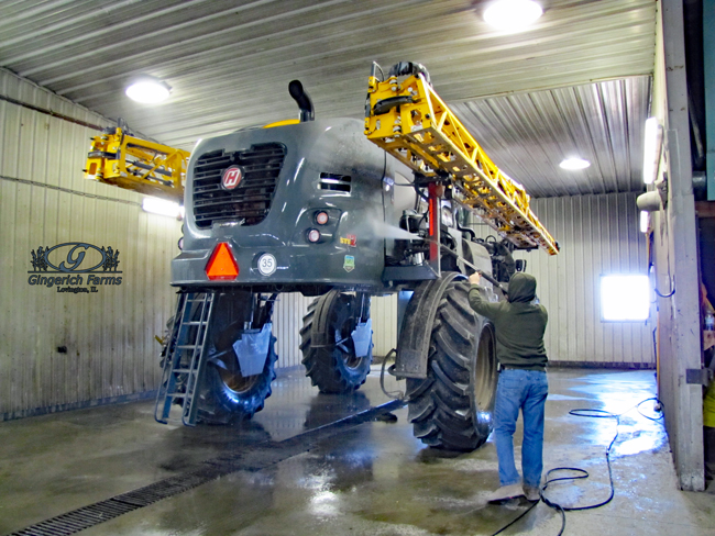 Washing sprayer at Gingerich Farms