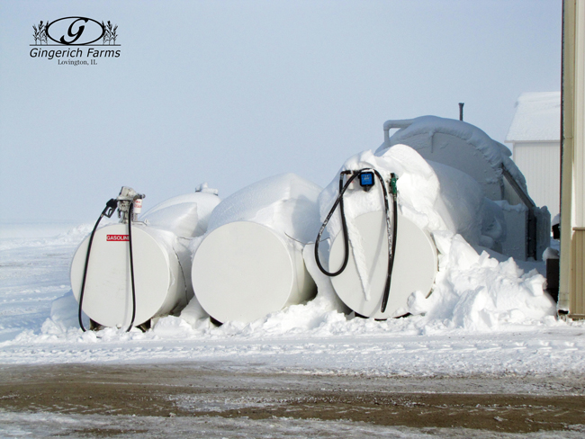Snow & fuel tanks at Gingerich Farms