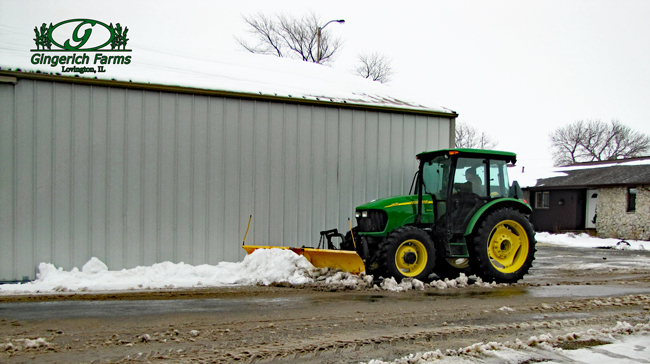 Plowing snow at Gingerich Farms