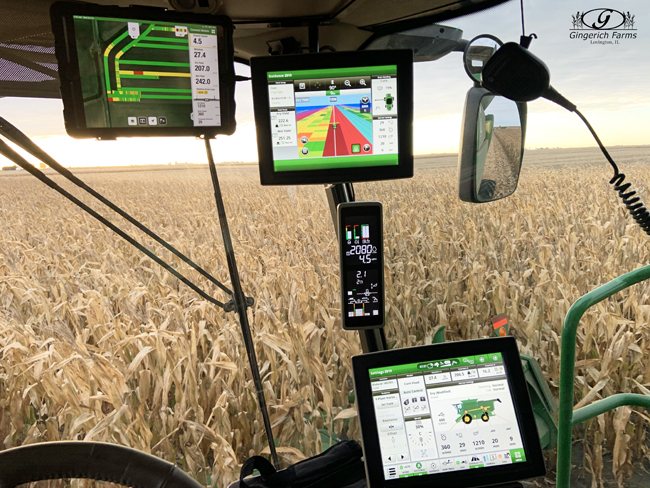 Monitors in corn combine at Gingerich Farms