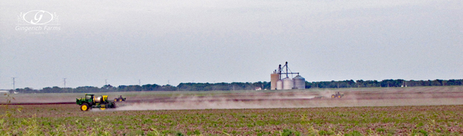 Sprayer & field cultivators at Gingerich Farms