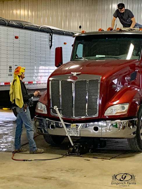 Waxing truck at Gingerich Farms