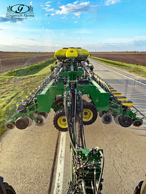 Bean planter on the road at Gingerich Farms