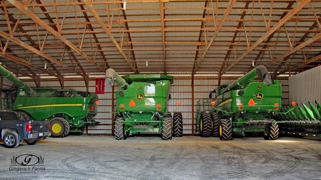 Combines at Gingerich Farms