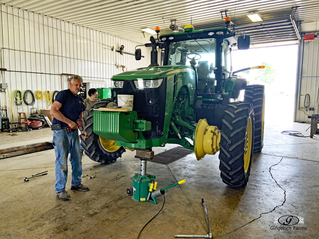 Changing tires on sidedress at Gingerich Farms