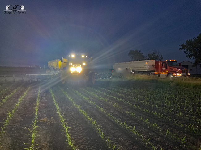 Loading sidedress bar at Gingerich Farms