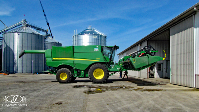 Combine head preparation at Gingerich Farms