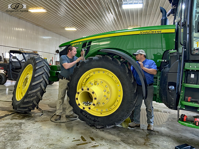 Changing tires on John Deere tractor - Gingerich Farms