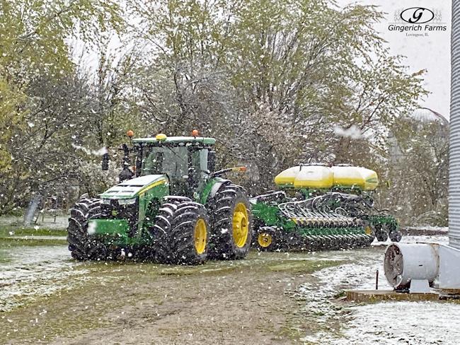 Planter in snow - Gingerich Farms