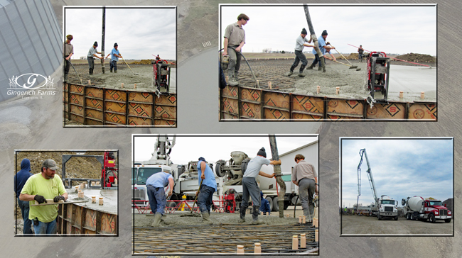 Pouring concrete at Gingerich Farms