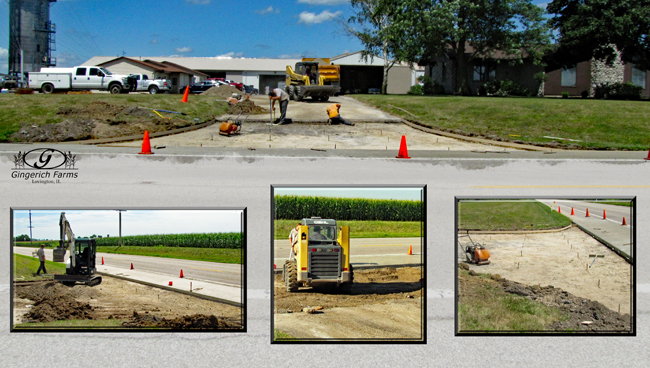 Driveway work at Gingerich Farms