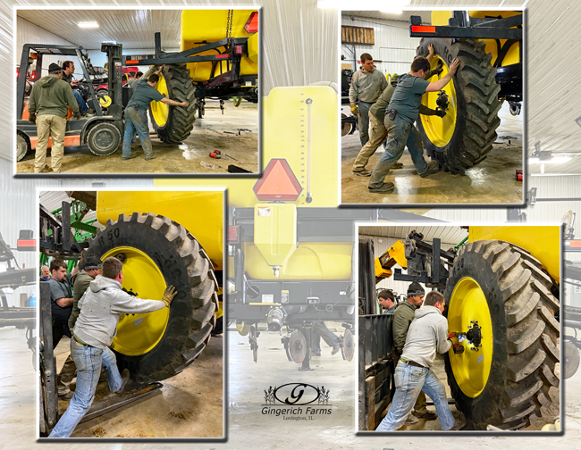 Wheels on sidedress bar at Gingerich Farms