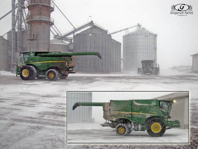 Combines in shed at Gingerich Farms