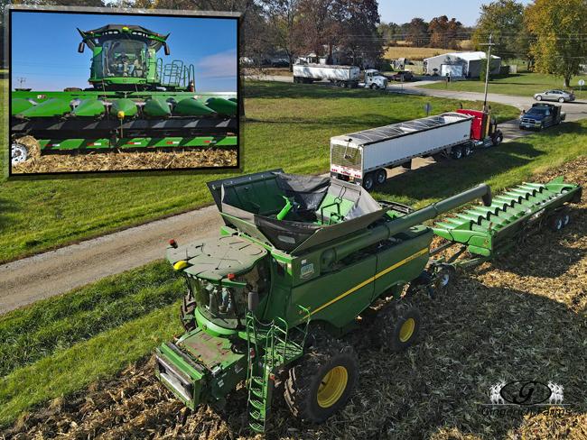 Putting on corn head - Gingerich Farms