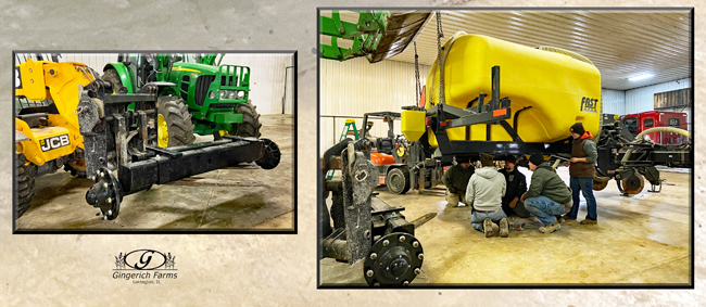 Bar for wheels on sidedress bar at Gingerich Farms